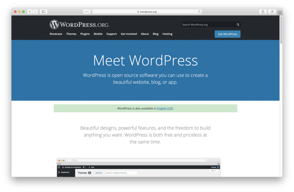 WordPress home page screenshot